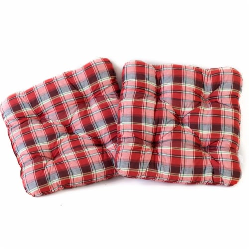 Curonian Alma Outdoor & Indoor Furniture Alma Seat Cushions, Red Plaid - 19.7 x 19.7 Perspective: front