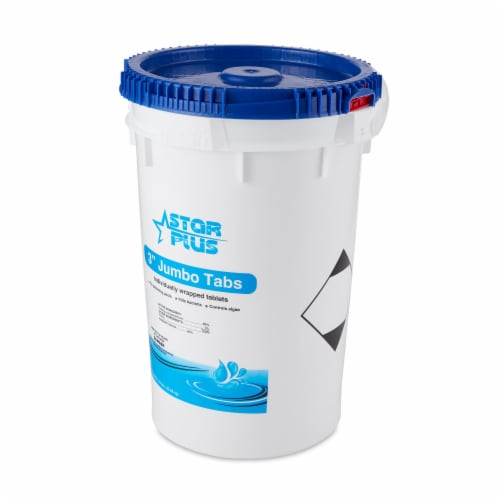 Star Plus Wrapped Trichlor Jumbo 3-Inch Pool Chlorine Tablets, 50 Pound Bucket Perspective: front