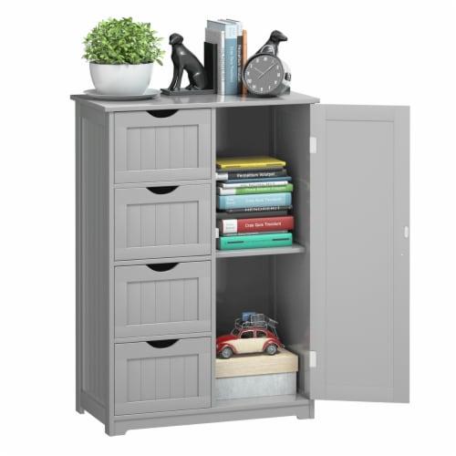 Costway Wooden 4 Drawer Bathroom Cabinet Storage Cupboard 2 Shelves Free Standing Perspective: front