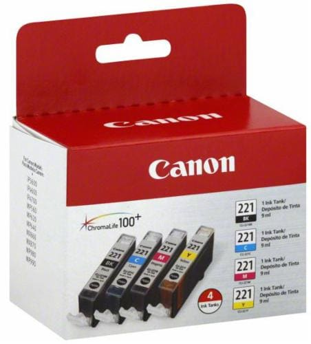 Canon CLI-221 Ink Cartridges - 4 Pack - Black/Cyan/Magenta/Yellow Perspective: front