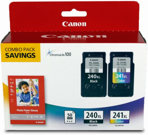 Canon Photo Paper and PG-240/CL-241 XL Ink Cartridges Combo - Multi-Color Perspective: front