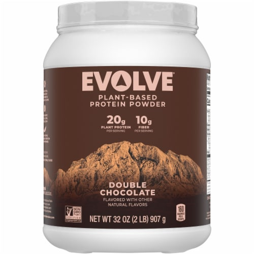Evolve Double Chocolate Plant-Based Protein Powder Perspective: front