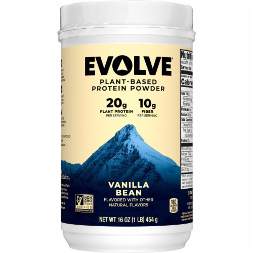 Evolve Vanilla Bean Plant-Based Protein Powder Perspective: front