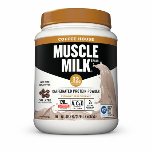 Muscle Milk Cafe Latte Caffeinated Protein Powder Perspective: front