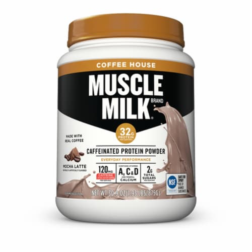 Muscle Milk Coffee House Mocha Latte Flavored Caffeinated Protein Powder Perspective: front