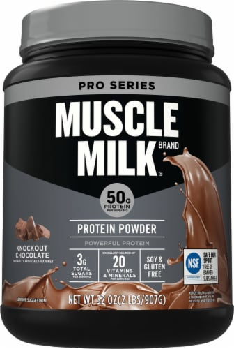 Muscle Milk Pro Series 50 Knockout Chocolate Protein Powder Perspective: front