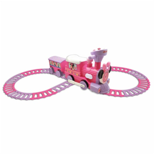 Kiddieland Disney Minnie Mouse Activity Ride On Train Engine and Caboose Toy Perspective: front