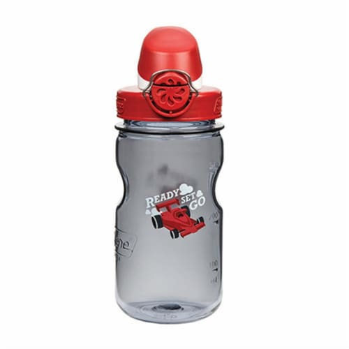 Nalgene NAL-1263-0006 12 oz Kids Race Car OTF Bottle, Gray & Red Perspective: front