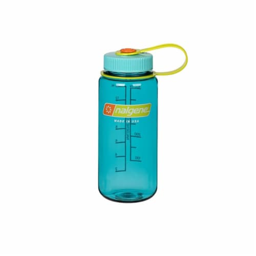 Nalgene 342069 Wide Mouth Loop-Top Bottle, Cerulean - 16 oz. Perspective: front
