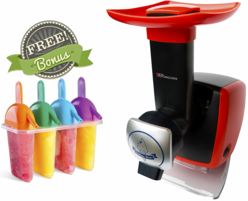 Uber Appliance Sorbet Frozen yogurt maker|soft serve fruit machine|4pc Popsicle mold included Perspective: front