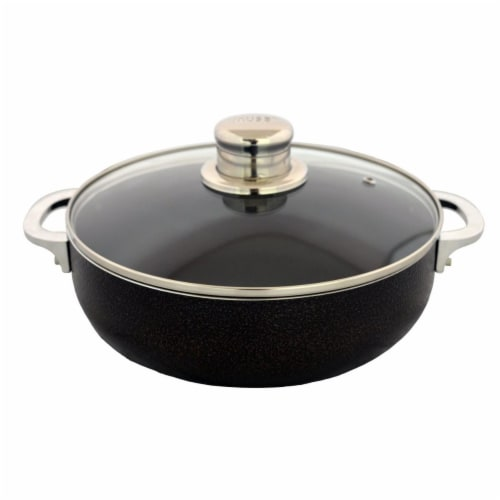 24cm Imusa Caldero Nonstick with Glass Lid, Bronze Perspective: front