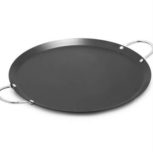 14 in. Imusa Round Carbon Steel Comal, Dark Grey Perspective: front