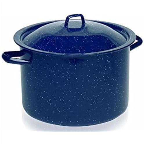 4 qt. Imusa Speckled Enamel Stock Pot with Lid, Blue Perspective: front