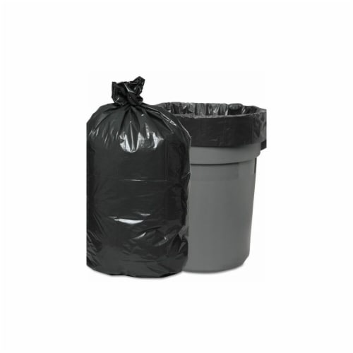 BWK 0.95 mil 60 gal Waste Can Liners, Black & Gray - 38 x 58 in. - 24 Per Roll & Roll of 4 Perspective: front
