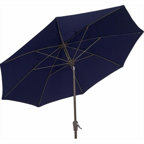 7Tcrcb-T-5439 Terrace Umbrella 7.5 Ft - Navy Blue Perspective: front