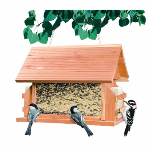 8lb The Lodge Wood Bird Feeder Perspective: front