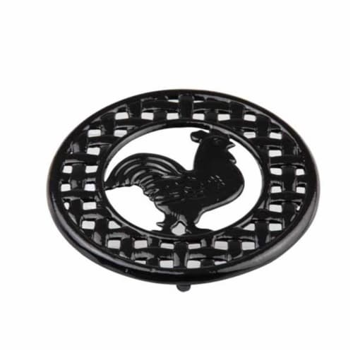 Cast Iron Rooster Trivet Black Perspective: front