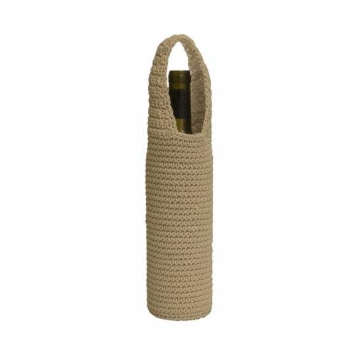 Mode Crochet Wine Bottle Wrap, Tan Perspective: front