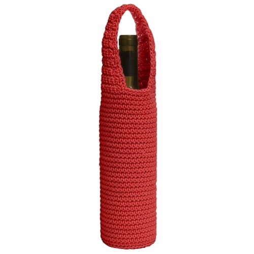 Mode Crochet Wine Bottle Wrap, Ruby Red Perspective: front