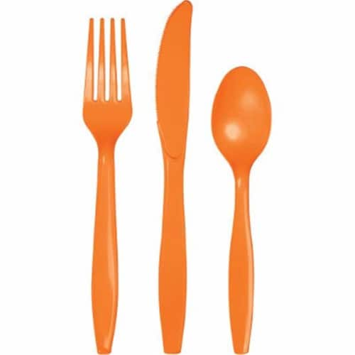 Group  Sunkissed Orange Assorted Cutlery, Pack of 12 - 18 Per Pack Perspective: front