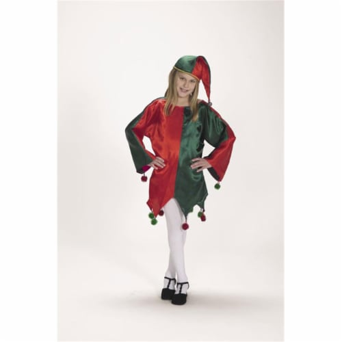 Satin Jingle Elf- Size Child 4-8 Perspective: front