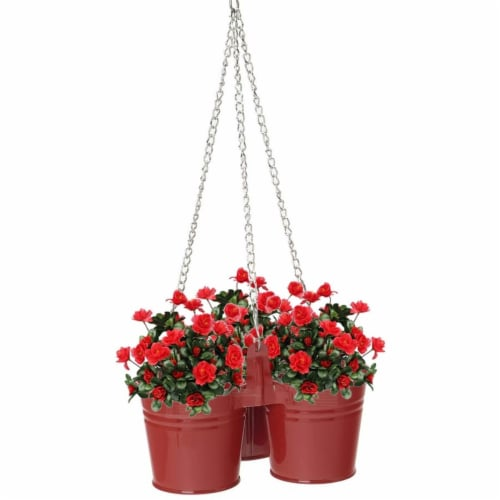 Enameled Galvanized Hanging 3 Planter Unit for 5.5 in. Plants, Red Perspective: front