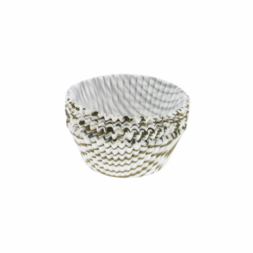 75 Count 2 in. Regular Gold Swirl Muffin Cups Perspective: front