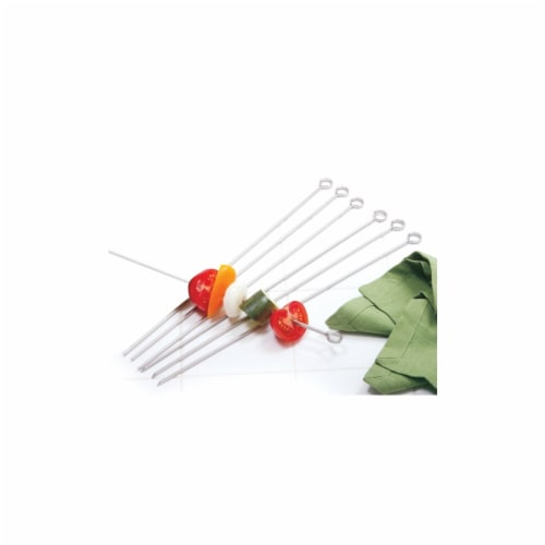 6 Count 14 in. Stainless Steel Skewers Perspective: front