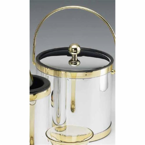 Mylar Brushed Chrome and Brass 3 Qt Ice Bucket with Bale Handle and Metal Cover Perspective: front