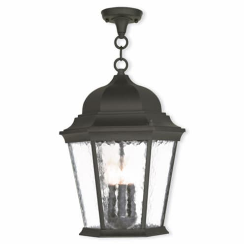 Hamilton 3 Light Outdoor Chain-hang Lantern In Textured Black Perspective: front