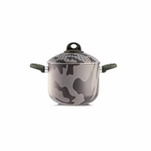 Lancaster Commercial Products  Camouflage Bio-Ceramix Nonstick Family PastaSi With Lid, 5 qt. Perspective: front