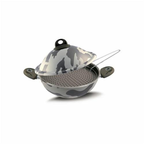Lancaster Commercial Products  Camouflage Bio-Ceramix Nonstick Vapsi Steam Cooker Wok Set Perspective: front