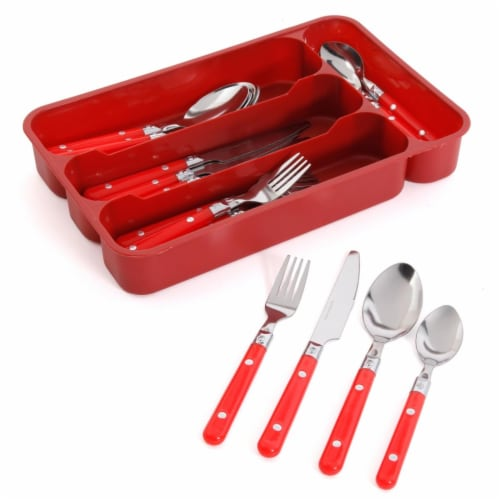 24 Piece Casual Living Flatware Set, Red Perspective: front