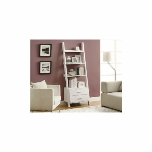 White 69 H L in. Adder Bookcase With 2 Storage Drawers Perspective: front