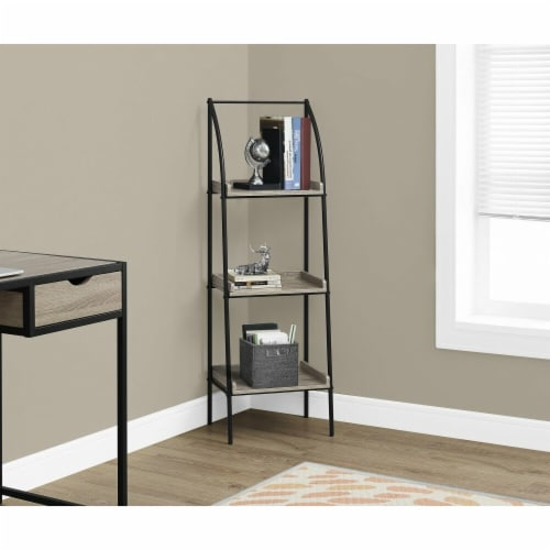 48 in. Monarch Bookcase - Black Metal, Dark Taupe Perspective: front
