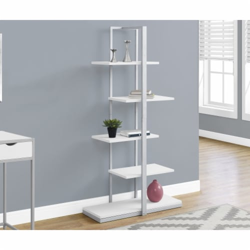 60 in. Monarch Bookcase - Silver Metal, White Perspective: front