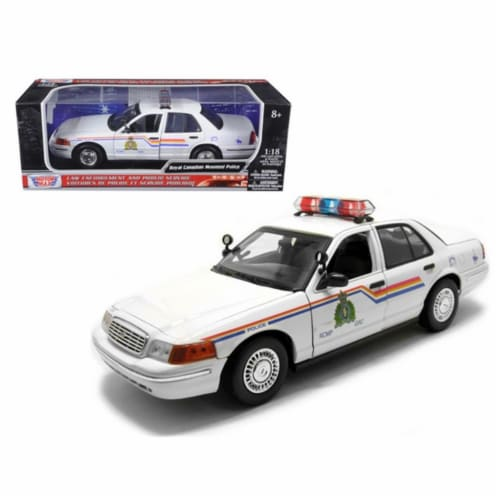 Motormax 73503 2001 Ford Crown Victoria Royal Canadian Mounted Police Car 1-18 Diecast Car Mo Perspective: front