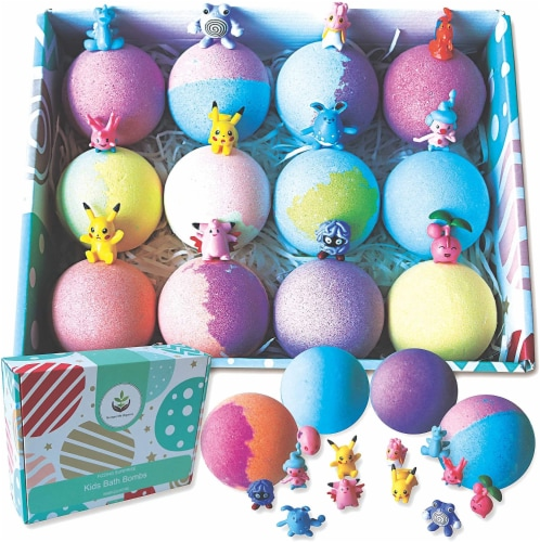 12 XL Bath Bombs for Kids with Surprise Pokemon Toys Inside. Party Favors for Kids! Perspective: front