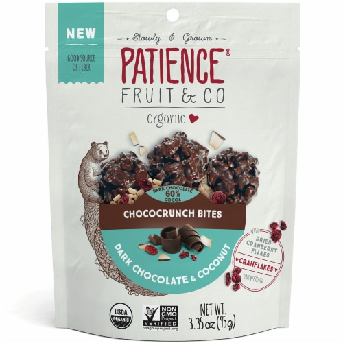 Patience Fruit & Co Organic Dark Chocolate & Coconut Chococrunch Bites Perspective: front