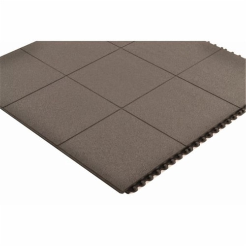 Notrax 550-556S0033BL 3 x 3 ft. Cushion-Ease Solid Interlocking Anti-Fatigue Mat 556, Black Perspective: front