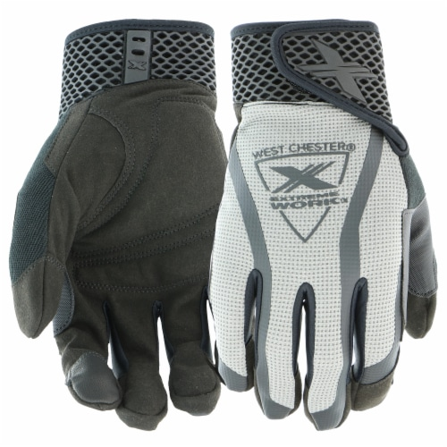 West Chester® Extreme Work™ MultiPurpX Gray & Black Performance Gloves Perspective: front