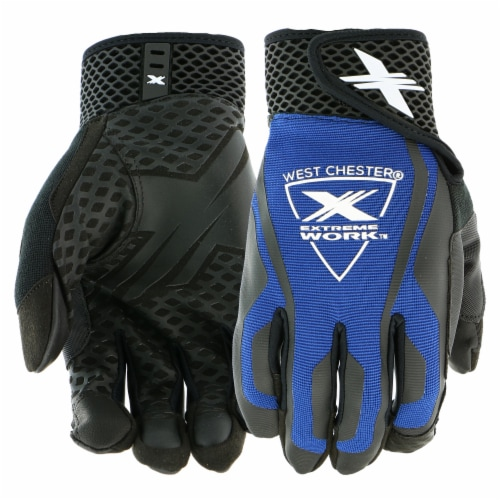 West Chester® Extreme Work™ LocX-On Black & Blue Grip Gloves Perspective: front