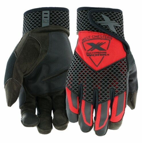 West Chester Extreme Work Knuckle KnoX Performance Gloves - Red/Black Perspective: front