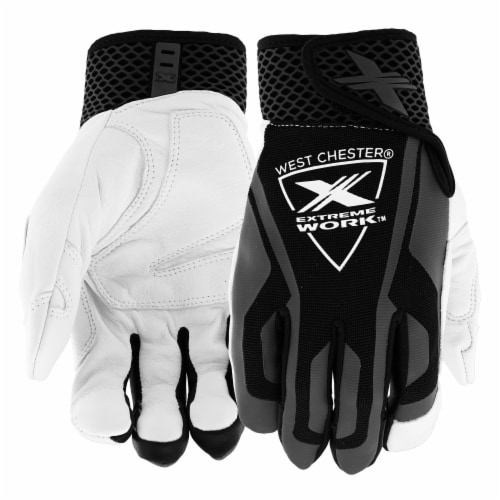 West Chester® Extreme Work™ Black & White Indestrux Leather Performance Glove Perspective: front