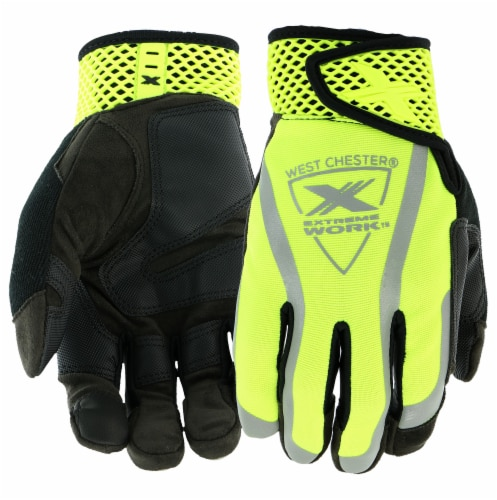 West Chester® Extreme Work VizX Black/Yellow Safety Performance Gloves Perspective: front
