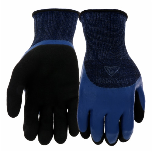 West Chester Protective Gear Blue Polyester Double Dipped Latex Grip Gloves Perspective: front