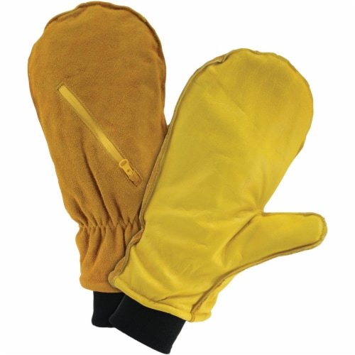 West Chester Men's Large Insulated Leather Mitten Winter Glove 97861/L Perspective: front