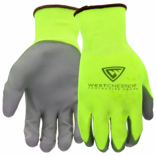 West Chester Touch Screen Polyurethane Palm Coated Gloves - Yellow Perspective: front