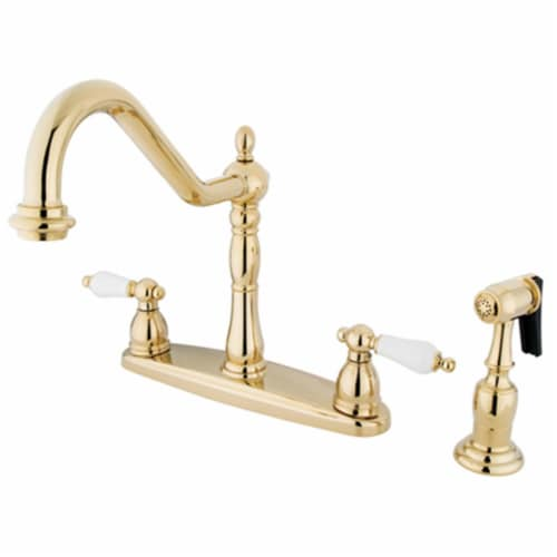 Kingston Brass KB1752PLBS Heritage Centerset Kitchen Faucet, Polished Brass Perspective: front