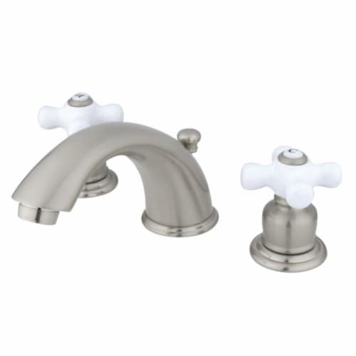 Kingston Brass GKB968PX Widespread Bathroom Faucet, Brushed Nickel Perspective: front